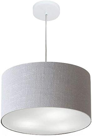 Lustre Pendente Cilíndrico Cúpula Tecido 40x25 cm, Vivare Iluminação, Pendente4244 CZ, Cinza, Médio