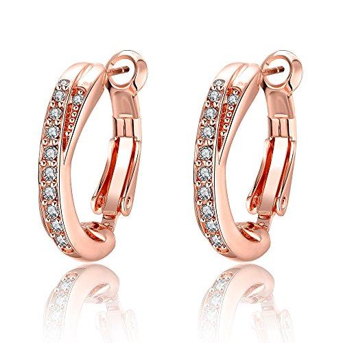 YAZILIND elegante joyer¨ªa rosa chapado en oro forma redonda incrustada con pendientes c¨²bicos de zirconia blanco para las mujeres