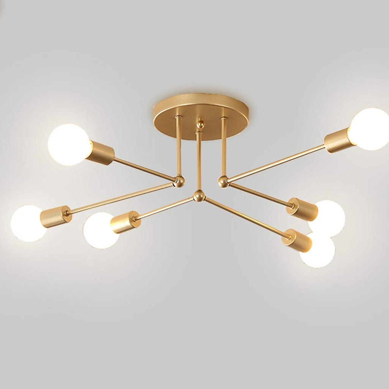 Xihongshi Kreative Deckenleuchte Schmiedeeisen Led Deckenleuchte Persnlichkeit Schlafzimmer Beleuchtung Hauptbeleuchtung, DREI-Farben-Licht 6way
