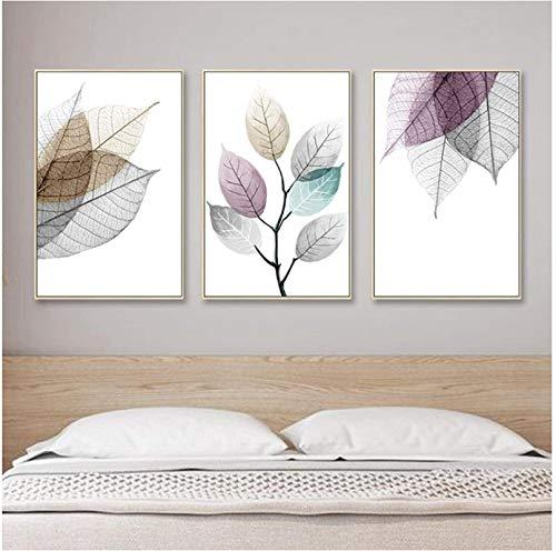 SHYJBH Modernes Poster Abstrakte transparente Blätter Leinwandbilder Blattplakat und Drucke Wandkunst Bilder Wohnzimmer Wohnkultur 3 Stück 50x70cm ohne Rahmen