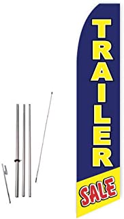 Trailer Sale (Blue/Yellow) Super Novo Feather Flag - Complete with 15ft Pole Set and Ground Spike