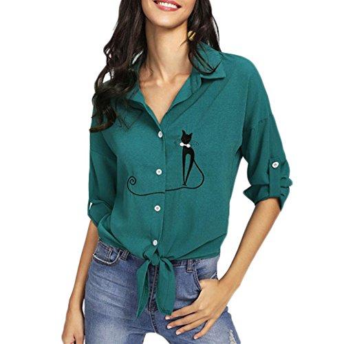 Dorical Hemd der preiswerten Frauen, Mode Langarm-Taste Bestickt Katze verknotet Hem Slim Fit Bluse...