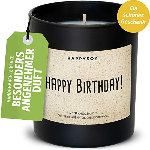 Happy Birthday Soja Duftkerze im Glas mit Spruch - 100% natürlich handgemacht - nachhaltig persönlich Geschenk Beste Freundin Freund Mama Papa Oma Opa Geburtstag Danke Liebe Glück verschenken