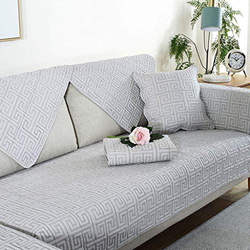 HJUYV-ERT Funda de sofá Acolchada, 100% algodón Funda de sofá Antideslizante Cómodo Protector de Muebles para sofá en Forma de L Sofá seccional Futón-Gris F-45x45Cm Funda de Almohada