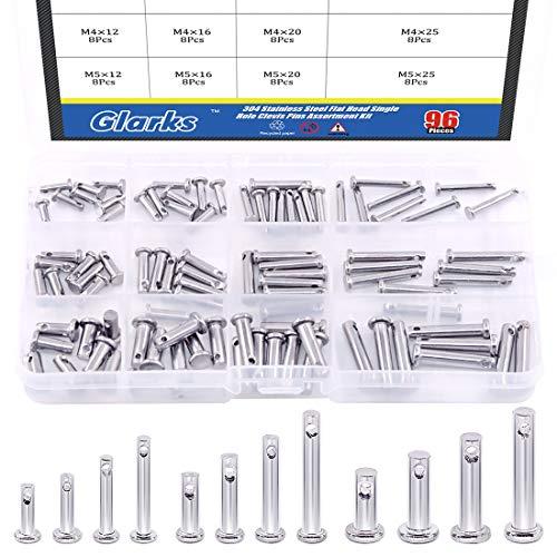 Glarks 96Pcs 12 Sizes 304 Stainless Steel Flat Head Single Hole Clevis Pins Assortment Kit