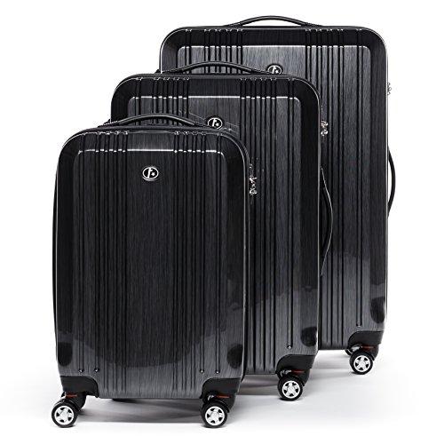 FERGÉ® Set di 3 valigie viaggio CANNES - leggero bagaglio rigido dure da 3 ABS & PC duro tre pz. valigie con 4 ruote (multidirezionali 360°) grigio