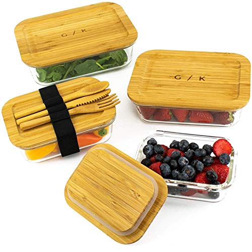 Glass Food Storage Containers with Eco Friendly, Sustainable Bamboo Lids, Set of 4. Plastic Free,...