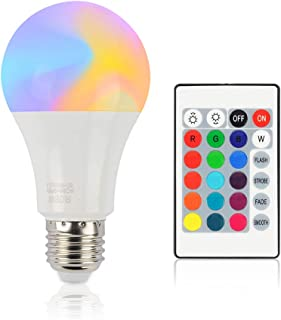 E27 LED Bulb 10W RGB + White 16 Color LED Dimmable Light Bulbs AC85-265V Changeable RGB Bulb Light with Remote Control