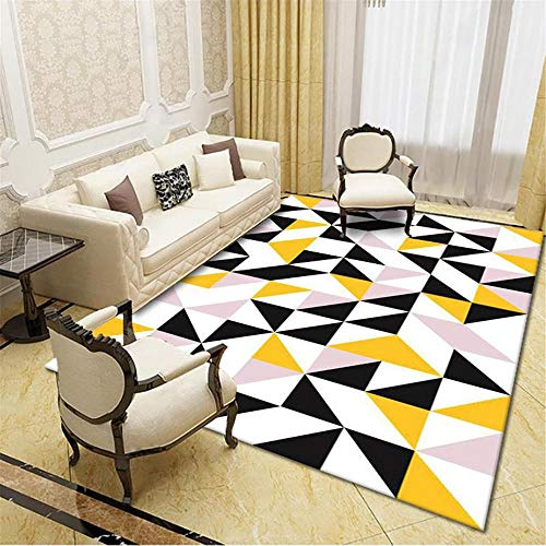 DJHWWD Children Rugs For Bedrooms yellow Carpet pink yellow small triangle pattern living room carpet soft and durable Nursery Rug 140X200CM Outdoor Garden Rug 4ft 7.1''X6ft 6.7''