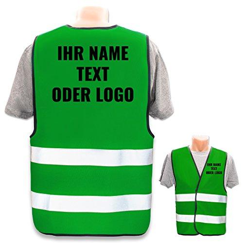 Hochwertige Warnweste mit Leuchtstreifen * Bedruckt mit Name Text Bild Logo Firma * personalisiertes Design selbst gestalten, Druckposition:Rücken + Linke Brust, Farbe Warnweste:Grün (S)
