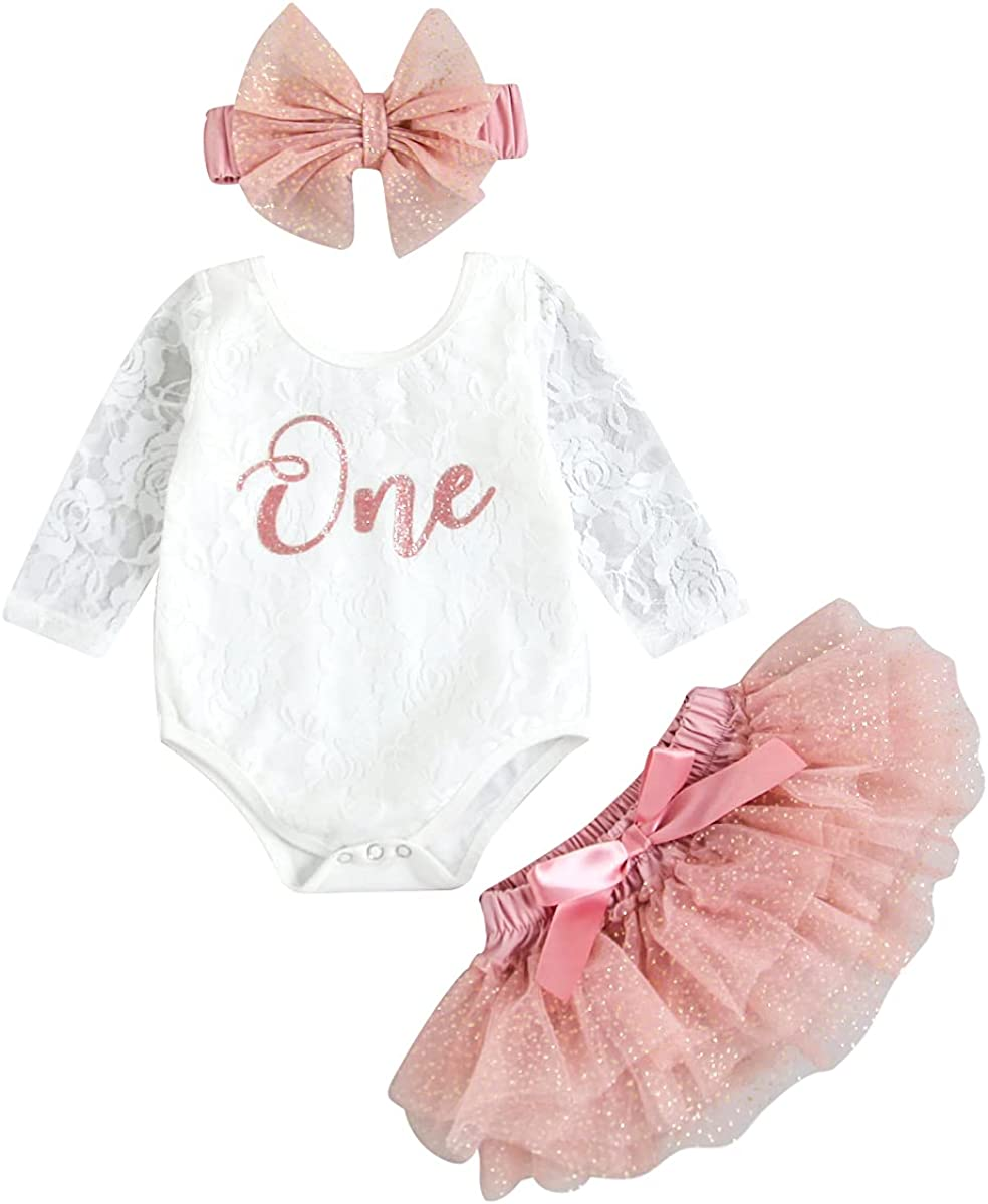 Baby Girls My 1st Birthday Outfits Long Sleeve Floral Lace Romper + Tutu Skirt + Headband Set