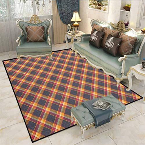 Tartan Rugs for entryway Large Area Rugs British Traditional Design Classic Country Style Checkered Pattern Desk mat for Carpet Pink Marigold Charcoal Grey 4.5 x 5.2 Ft