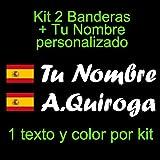 Vinilin Pegatina Vinilo Bandera España con Escudo + tu Nombre - Bici, Casco, Pala De Padel, Monopatin, Coche, Moto, etc. Kit de Dos Vinilos (Blanco)
