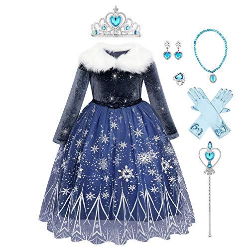 Disfraz infantil de princesa Elsa de Frozen de manga larga con diseo de copo de nieve, para cumpleaos, fiestas, carnaval, cosplay, invierno, tallas 98-140 azul oscuro 4-5 Aos