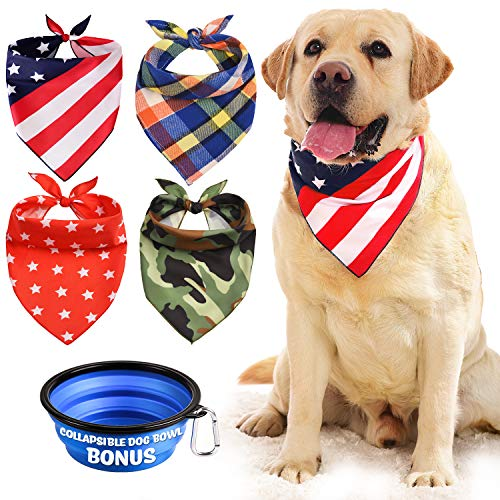 Dog Bandana, Bibs Scarf for Pet – 4Pcs Washable Cotton Triangle Kerchief, Adjustable Neckerchief Accessories for Small to Large Dogs Puppy Cats Pets, BONUS Pet Bowl Collapsible Silicon Free Carabiner