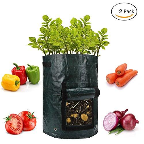 Sunsang Lot de 2 sacs de plantation pour plantes végétales : Potato, Carrot, Tomato, Onion – Plant Tub avec rabat d'accès pour harvesting – Eco-Ffriendly – Heavy Duty & Durable Bags