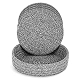 Pot Holders Trivets Set 4 Pcs and Kitchen Storage Basket 1 Pack, Cotton Trivet Mat for Hot Pots and Pans, Potholders for Hot Dishes, Table Countertop Protector Hot Pads Heat Resistant (Deep Grey)