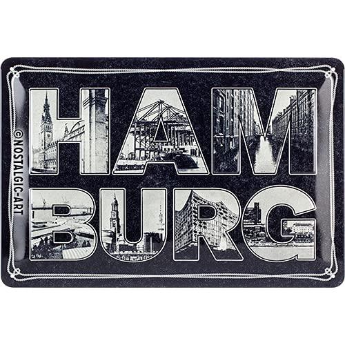 Nostalgic-Art Retro Blechschild Hamburg – Bilder-Buchstaben und Tau – Souvenir und Geschenk-Idee, aus Metall, Vintage-Design zur Dekoration, 20 x 30 cm