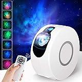 LED Sternenhimmel Projektor Galaxy Projektionslampe 3D Sternenlicht Projektor Lamp mit RGB Dimming, Fernbedienung, 360° Drehung/7 Farben/Aurora-Effekt Nachtlicht für Party Geburtztag Dekoration