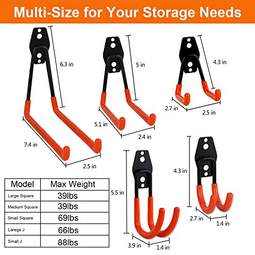 Garage Hooks Dirza 10 Pack Steel Garage Storage Utility Double Hooks, Heavy Duty Wall Mount Tool Hangers Organizers for Organizing Ladder, Power Tool,Bulk Items, Shovel, Ropes