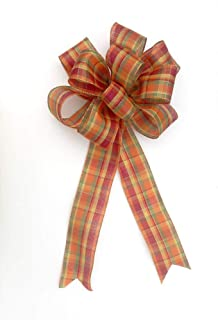 Fall bow for wreaths, Autumn decor, fall decoration, pumpkin plaid with gold wired edge