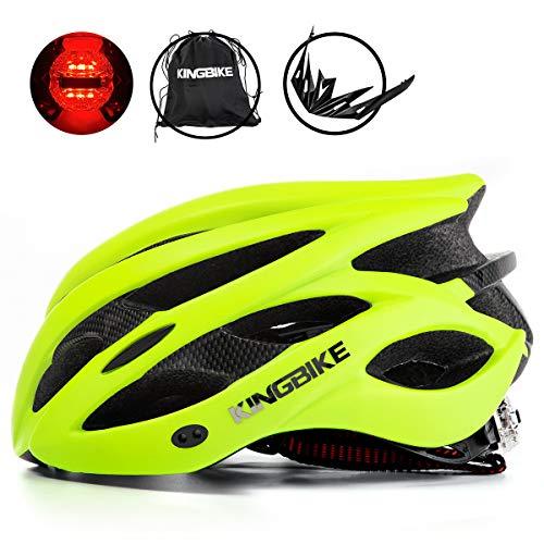 KING BIKE Fahrradhelm Helm Bike Fahrrad Radhelm mit LED Licht FüR Herren Damen Helmet Auf Die Helme Sportartikel Fahrradhelme GmbH RennräDer Mountain Schale Mountainbike MTB(Grün, L(56-60CM))