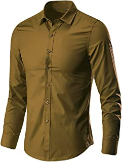 Joe Wenko Mens Short Sleeve Office Button Down Pure Color Cotton Shirt