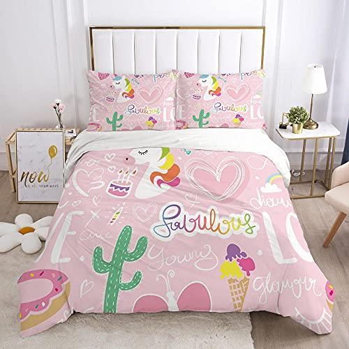 Påslakan Dubbel 3 delar Vändbar Rosa tecknad film kaktus semester Tryckt sängkläder täckeöverdrag med dragkedja stängning 2 kuddfodral mjuk mikrofiber sängkläder 260x240cm