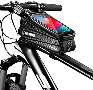 ANSOPO-US Bicycle Top Tube Frame Bag Rain Resistant Bike Frame Bag and Mobile Phone Screen Touch Holder Mount Fits Phones for 4.7 -6.5