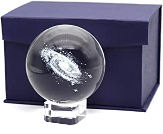 Ekatoo 3 Inch / 80MM Galaxy Ball Crystal Display Globe Globe Full Sphere Glass Glass Fengshui با پایه روشن (بسته جعبه هدیه)