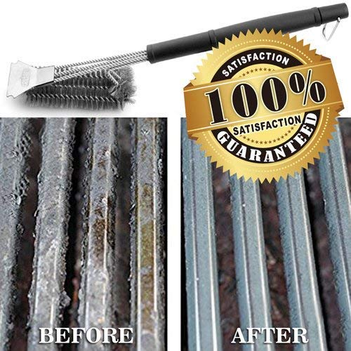 GRILLART Stainless Steel Woven Wire 3-in-1 Bristles Grill Cleaning Brush and Scraper