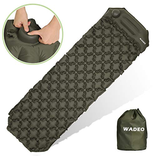 WADEO Self Inflating Camping Sleeping Pads, Inflatable Camping Mat with Built-in Pump and Pillow for Backpacking, Traveling, Hiking, Durable Waterproof Compact Ultralight Hiking Pad - Gray