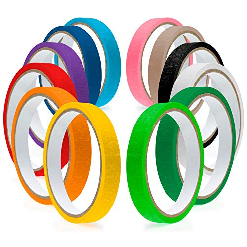 Masking Tape Painters Colored Decoration - 12 Pack Set Painter's Tapes Color Craft Art Paper for Painting Decoration Rainbow Painter Rolls - Kids DIY Decorative Colorful Arts Crafts School Classroom