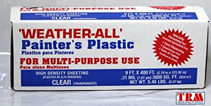 TRM Manufacturing HD9 Weatherall Painter's Plastic, Roll Size 9' X 400', Polythelene