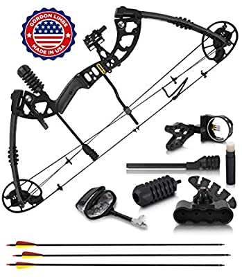 2020 Compound Bow and Arrow for Adults and Teens - Hunting Bow with Gordon Limbs Made in USA- Fully Adjustable for Women and Youth 30-70 Lbs, 23.5-30.5 In- 320 FPS Speed - 5-Pin Sight, Quiver - Right by CREATIVE XP