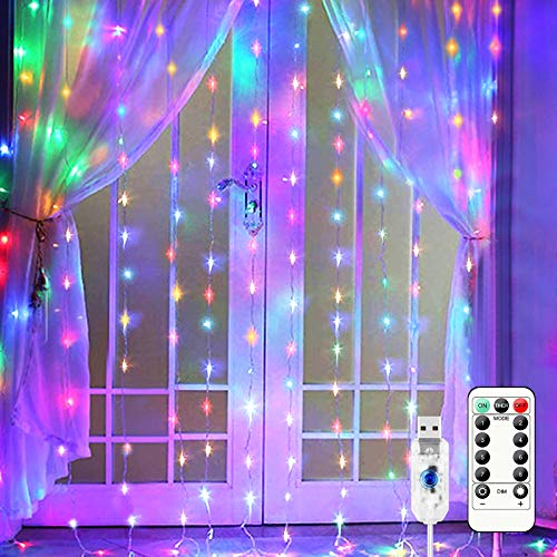 Curtain Fairy Lights 300 LEDs Window Colorful String Lighting 9.8FTx 9.8FT USB Powered LED Star Light with Hanging Hooks,8 Modes Remote Control for Home Bedroom Outdoor Party Wedding Decoration