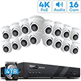 [Audio] ONWOTE 16 Channel 4K 8MP Dome PoE IP Security Camera System 4TB HDD, 16CH 4K H.265 NVR Kit, (16) Outdoor Wired 4K 8.23 Megapixels 3840x2144 PoE Cameras, 100ft IR, 94° Angle, 24/7 Recording