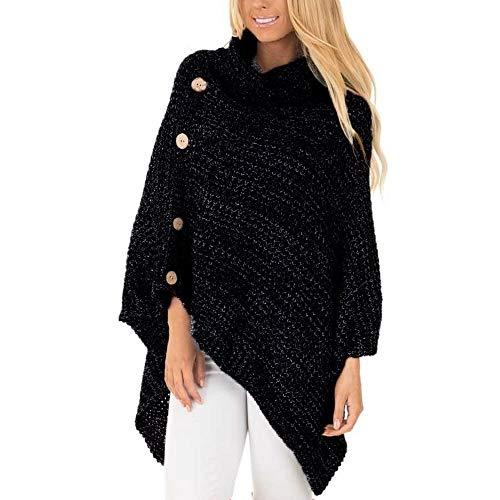 Damen Oberteile MYMYG Damen Strick Rollkragen Poncho mit Knopf Unregelmäßige Saum Pullover Pullover Herbst und Winter Sweatshirt(Schwarz,EU:34/CN-S)