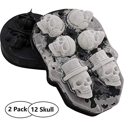 3D Skull Ice Cube Trays-Silicone Jello Molds, 12 Skull Ice and Chocolate Cube Maker, Best for Whishey, Cocktails, Vodka and Beverages, Perfect for Drinking Party and Christmas Gift, Black (2 Pack)