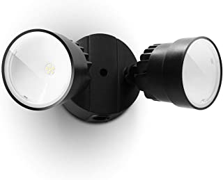 LUTEC P6221B 1130 Lumen 15 Watt LED Dual-Head Floodlight Outdoor, Switch Controlled Waterproof Exterior Security Wall Ligh...