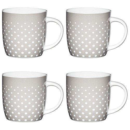 Kitchencraft de Fine Lunares spotty-patterned barril tazas, 425ml-grey/blanco (Set de 4), Bone...