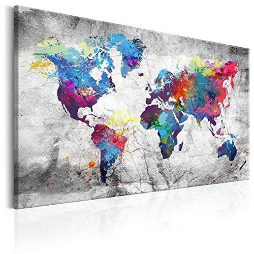 Lolobeauty Gran impresión en Lienzo Impreso en HD Pintura Mapa del Mundo Decoración del hogar Cuadros de Pared para Sala de Estar Sin Marco,Gris,90 cm x 60 cm