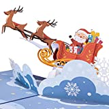 """Paper Love Santa Sleigh Pop Up Christmas Card, Handmade 3D Popup Greeting Cards for Christmas, Holiday, Xmas Gift 