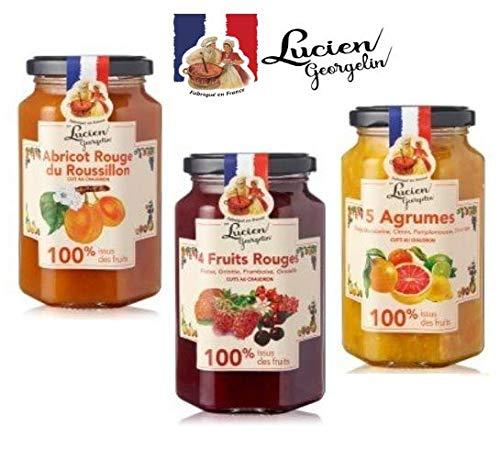Lucien Georgelin Tris aus Marmeladen Hergestellt in Frankreich 1 x Aprikose, 1 x rote Früchte, 1 x Zitrusfrüchte, 100% Frucht - 3 x 300 Gramm
