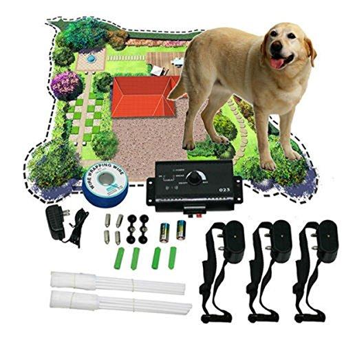 TENGGO Perro Sistema de cercado electrónico Perro Dispositivo de Entrenamiento Collar de Choque subterráneo 3 Collares para Mascotas Perro Cerca eléctrica para 3 Entrenador de Mascotas Perros