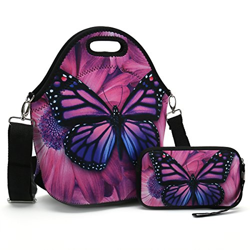 Insulated Neoprene Lunch Bag-Removable Shoulder Strap-X Large Size Reusable Thermal Thick Lunch Tote/Lunch Box/Cooler Bag With Wallet Pouch Fr Adults,Kids,Women,Men Teens,Girls,Baby (Purple Butterfly)