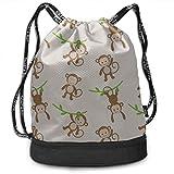OKIJH Mochila Mochila de Ocio Mochila con cordón Mochila Multifuncional Bolsa de Gimnasio Gym Accessories Bag Forest Jumping Cute Monkey Gym Drawstring Bags Backpack Sports String Bundle Backpack For