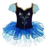 Lito Angels Disfraz Tutu de Frozen Princesa Anna para Niñas, Bailarina de Ballet Vestido de Danza Maillot de Baile con Falda, Talla 6-7 Años, Azul