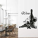 Marché du vin décalque raisin motif bouteille boisson aux fruits vinyle autocollant mural papier peint cuisine décoration murale sticker mural42x41 cm