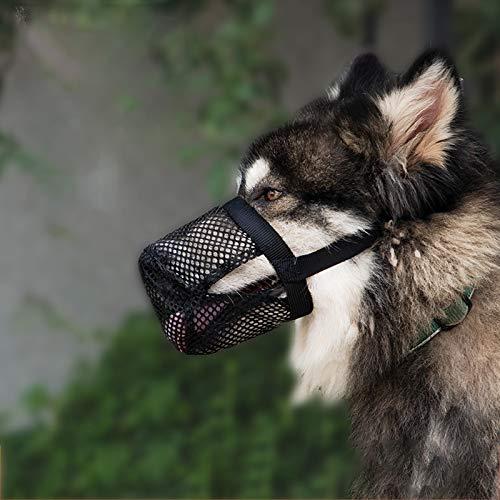 YZZR Hundemündung,Maulkorb für Hunde,mittelgroß,um Beißen,Kauen und Fressen zu verhindern,atmungsaktives und strapazierfähiges Netzgewebe,Nylon,mit verstellbarem Halsband und Kissen,Größe Schwarz